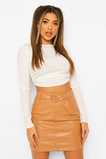 Nude Leather Look Belted Skirt