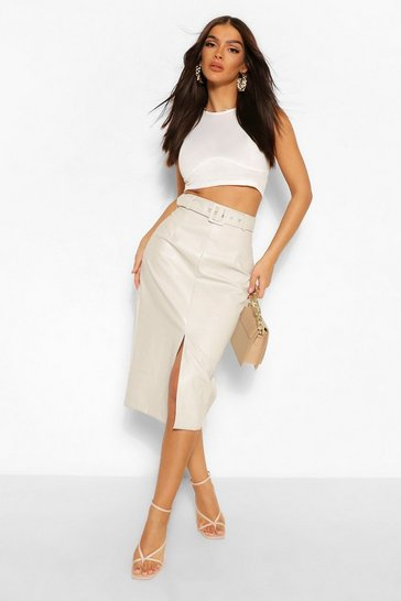 Ecru white Leather Look Belted Long Line Midi Skirt