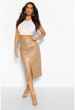 Sand beige Leather Look Belted Long Line Midi Skirt
