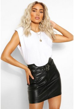 Black Leather Look Waist Detail Belted Skirt