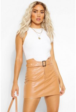 Nude Leather Look Waist Detail Belted Skirt