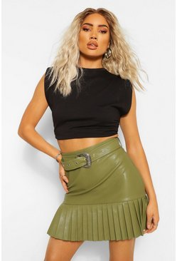 Khaki Leather Look Pleated Hem Mini Skirt