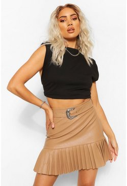 Nude Leather Look Pleated Hem Mini Skirt