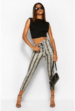 Grey Leather Look Snake Print Lace Up Skinny Trousers