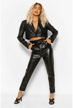 Black Paperbag Waist Leather Look Slim Fit Trousers