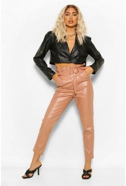 Nude Paperbag Waist Leather Look Slim Fit Trousers