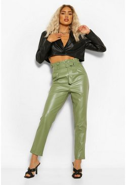 Sage green Paperbag Waist Leather Look Slim Fit Trousers