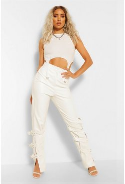 Ivory Leather Look Buckle Side Straight Leg Trousers