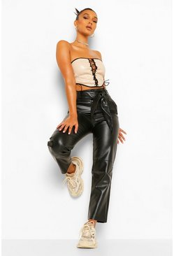 Black Leather Look High Waist Straight Leg Trousers