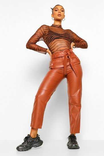 Chocolate brown Leather Look High Waist Straight Leg Trousers