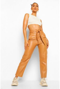 Tan brown Leather Look High Waist Straight Leg Trousers