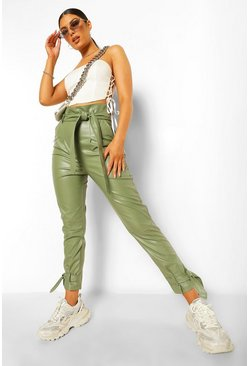 Sage green Leather Look Belted Tie Ankle Trousers