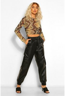Black Leather Look Tie Waist Pocket Side Joggers