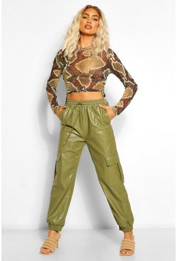 Khaki Leather Look Tie Waist Pocket Side Joggers