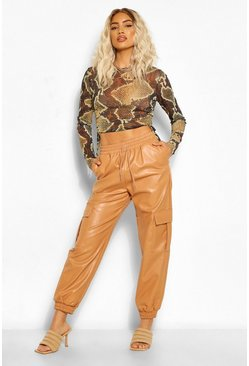 Nude Leather Look Tie Waist Pocket Side Joggers