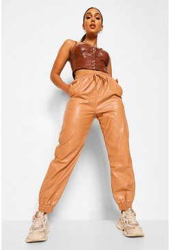 Nude Leather Look Tie Waist Joggers