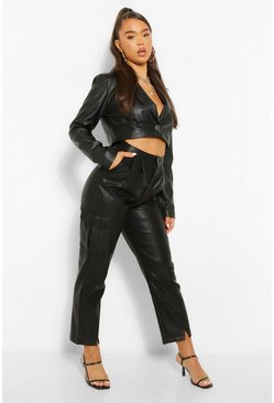 Black Leather Look Split Front Slim Fit Trousers