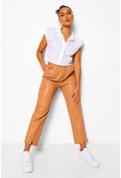 Nude Leather Look Split Front Slim Fit Trousers