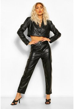 Black Leather Look Belted Straight Leg Trousers