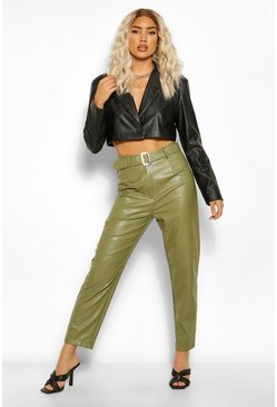 Khaki Leather Look Belted Straight Leg Pants