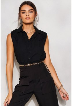 Black Shoulder Pad Woven Sleeveless Shirt