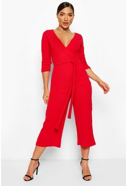 Red Wrap Tie Waist Culotte Jumpsuit