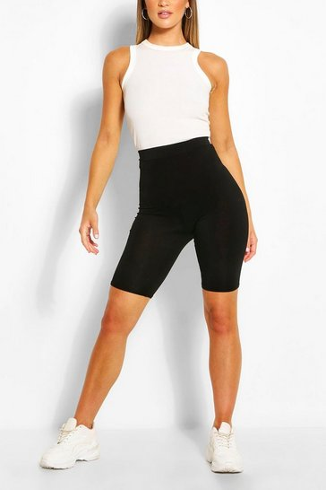 Black Basic Solid Cycling Shorts