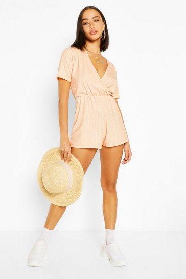 Apricot nude Polka Dot Wrap Front Playsuit