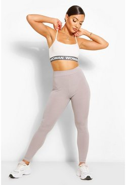 Grey 2 Pack Jumbo Rib High Waist Leggings