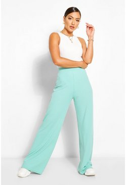 Mint green Jumbo Rib High Waist Wide Leg Trousers
