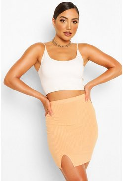 Peach orange Split Front Jersey Mini Skirt
