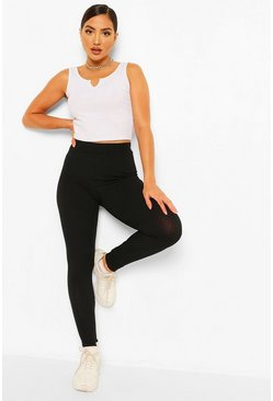 Black Jumbo Rib High Waist Leggings