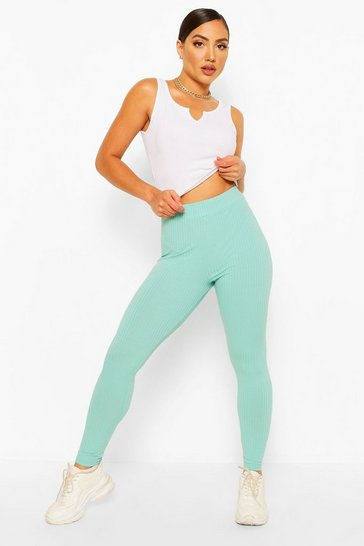 Mint Jumbo Rib High Waist Leggings