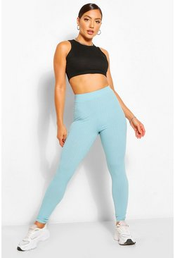 Sage green Ruched Bum Jumbo Rib High Waist Leggings