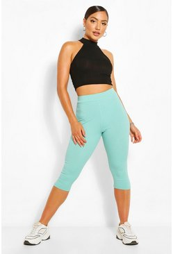 Mint Cropped Jumbo Rib High Waist Leggings