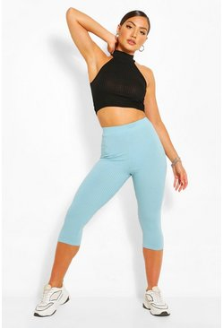 Petrol grey Cropped Jumbo Rib High Waist Leggings