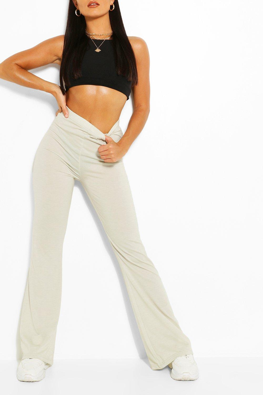 Trousers Basic High Waist Jersey Flare