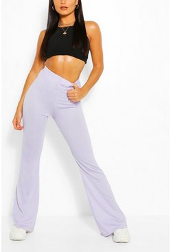 Lilac purple Basic High Waist Jersey Flare