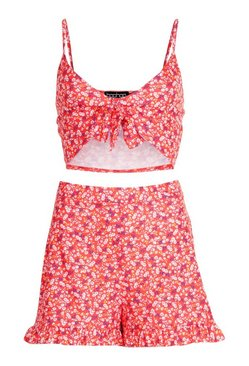 Red Ditsy Floral Knot Front Cami Co Ord