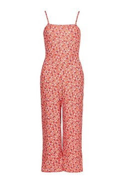 Red Ditsy Floral Cami Culotte Jumpsuit