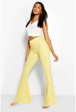 Ditsy Floral Jersey Flares , Yellow