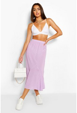 Lilac purple Polka Dot Drop Hem Woven Midi Skirt