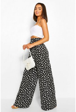 Black Daisy Floral Pleat Front Wide Leg Woven Trousers