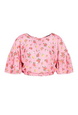 Pink Ditsy Floral Ruffle Sleeve Tie Neck Top