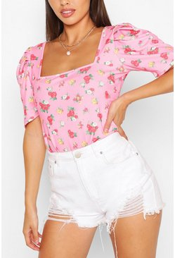 Pink Ditsy Floral Crepe Puff Sleeve Body