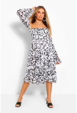 White Smudge Print Off The Shoulder Midi Smock Dress