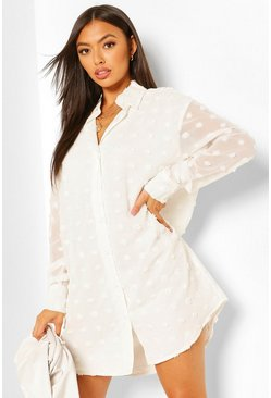 White Dobby Textured Long Sleeve Shirt Dress