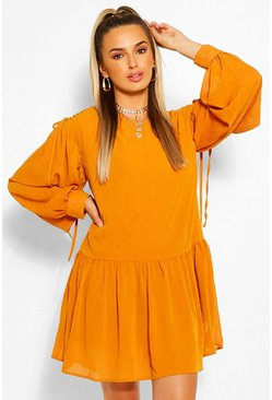 Orange Rouched Shoulder Drop Hem Shift Dress