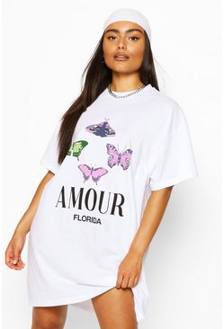 Wit white T-shirtjurk met vlinderprint Amour
