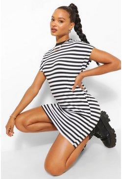 Black Striped Batwing T-Shirt Dress